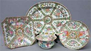 FOUR PIECES CHINESE ROSE MEDALLION PORCELAIN