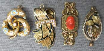 LOT OF FOUR ANTIQUE GOLD CHARMS