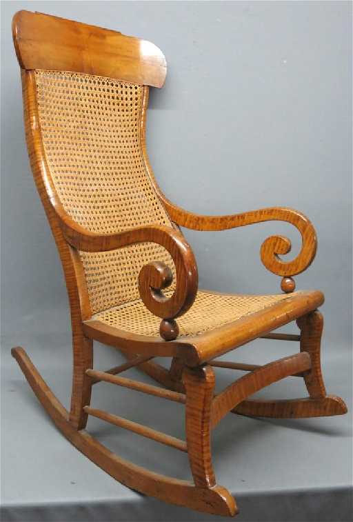 - SHERATON TIGER MAPLE ROCKING CHAIR