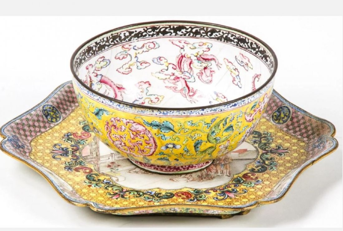ENAMEL BOWL AND DISH