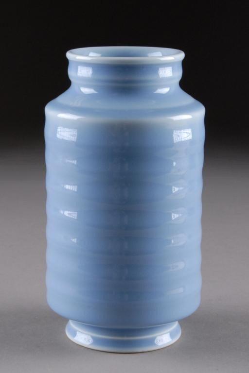 6: A CHINESE PALE BLUE GLAZED PORCELAIN VASE