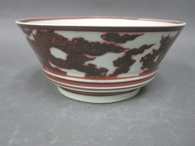 9: CHINESE RED GLAZED PORCELAIN BOWL