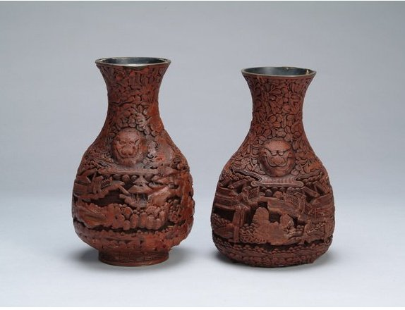 TWO CHINESE QING CINNABAR VASES