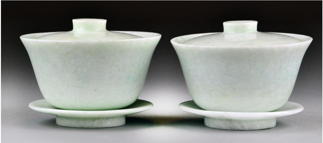 PAIR OF JADEITE LIDDED BOWL