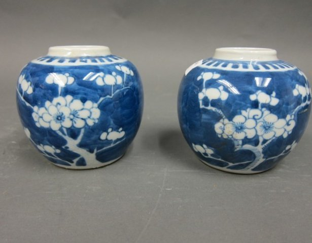 TWO CHINESE QING BLUE AND WHITE JARS