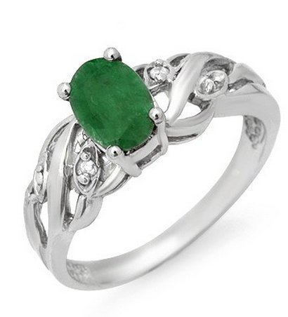 PLATINUM EMERALD LADY RING