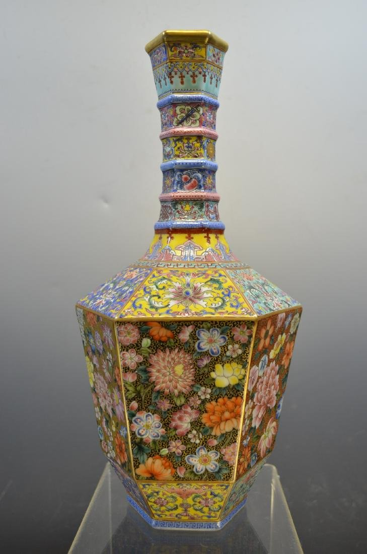 Fine Chinese Export Famille Rose vase with Gilt body