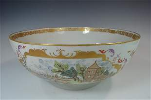 A Large Antique Chinese Export Punch Bowl from 19th