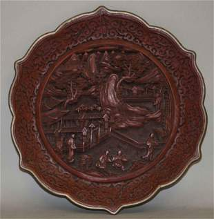 19th Century Cinnabar Lacquer Fluted Plate Qianlong