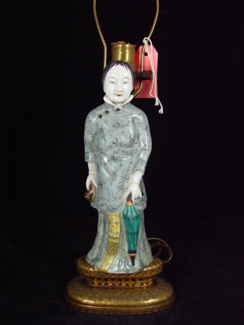 6011: Large 19th Century Chinese Sculpture mounted Lamp