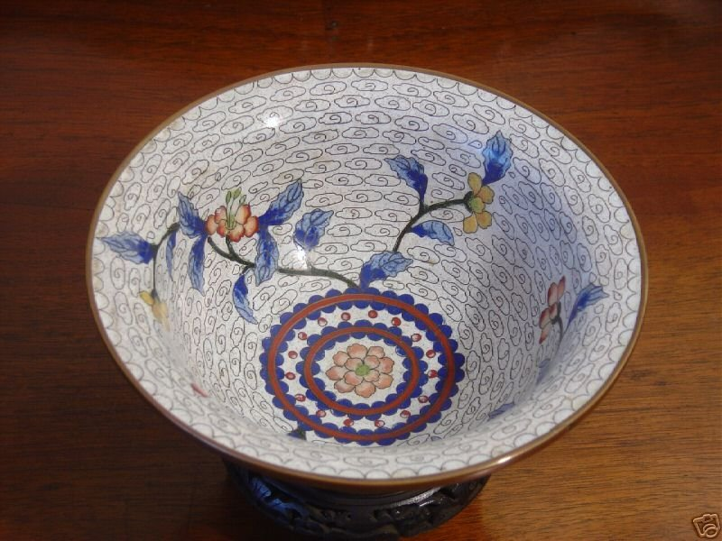 003: Pair 19th Century Antique Chinese cloisonne bowls