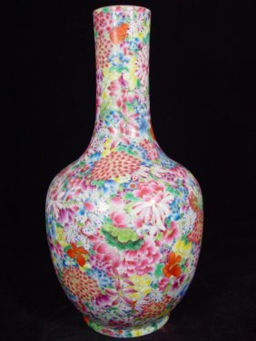 012: Marked Chinese mille-fleurs enameled porcelain vas