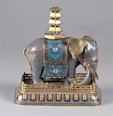 18th  Century CLOISONNE FIGURE OF an ELEPHANT