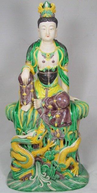 19th Century Chinese Famille Verte Biscuit Figurine