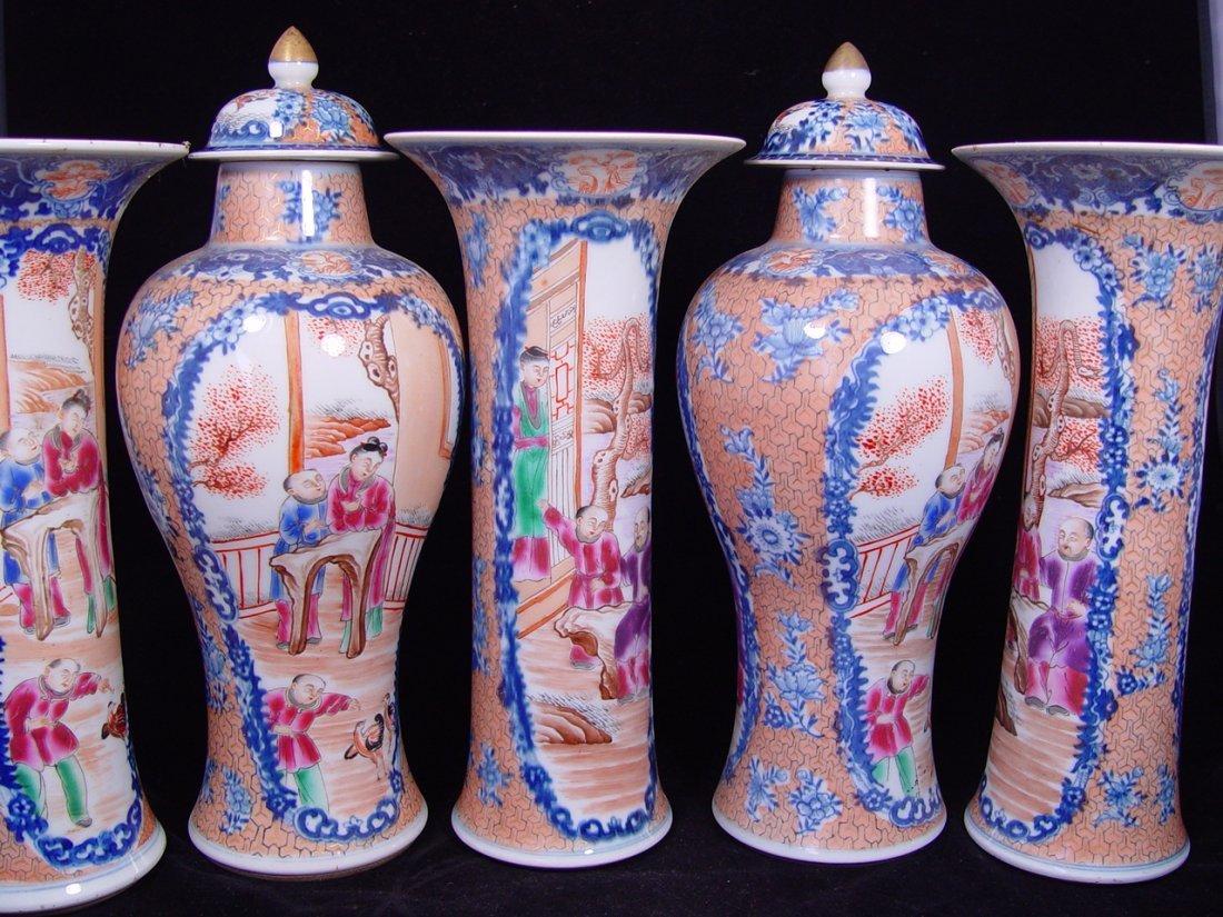 Antique Chinese Rose Mandarin Altar Set 5 pieces