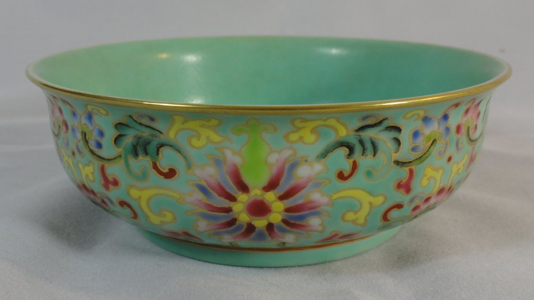 19th Century Chinese Famille Rose Bowl Qianlong Mark