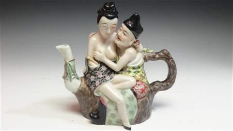 Rare 19th Century Chinese Export Teapot Erotica