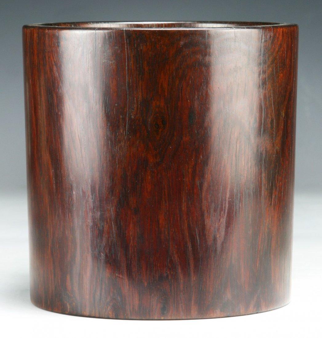 Rare 19th Century Hardwood Huanghuali Scholar Brush Pot