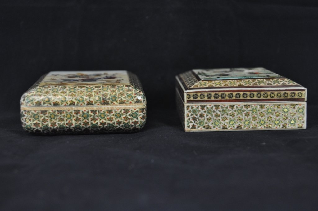 1: TWO BEAUTIFUL INDIAN ANTIQUE JEWELERY BOXES 4 3/4 in