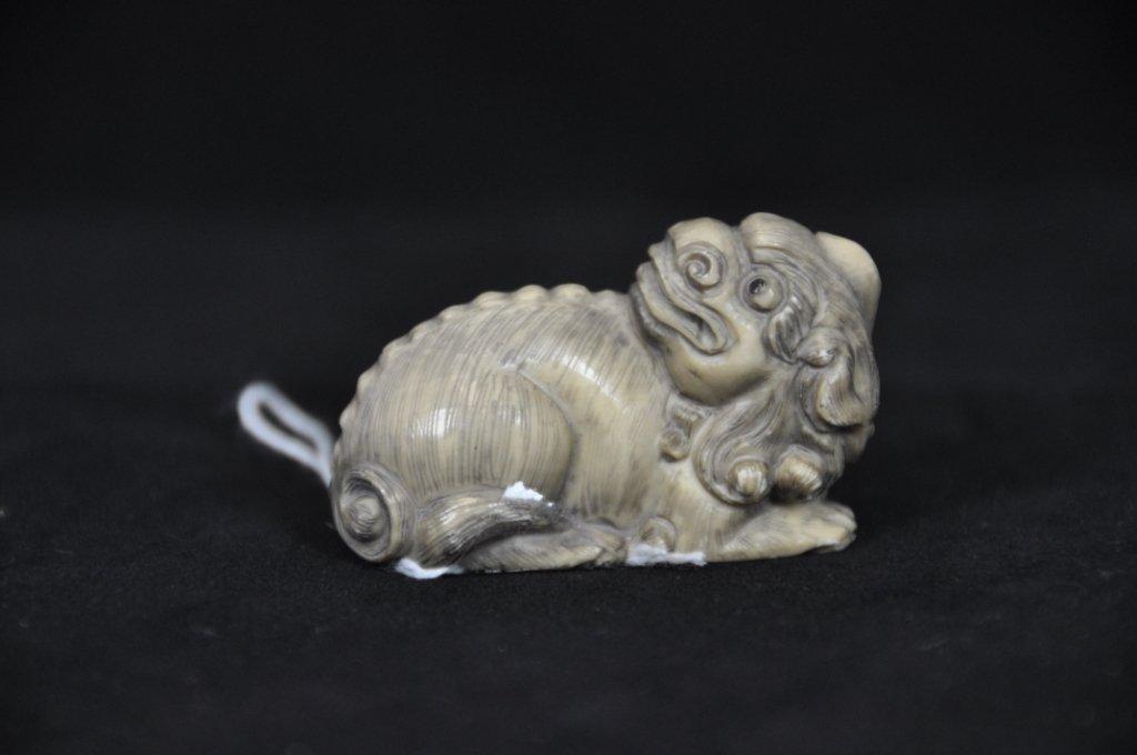 2: ANTIQUE IVORY NETSUKE : DOG Antique carved ivory net