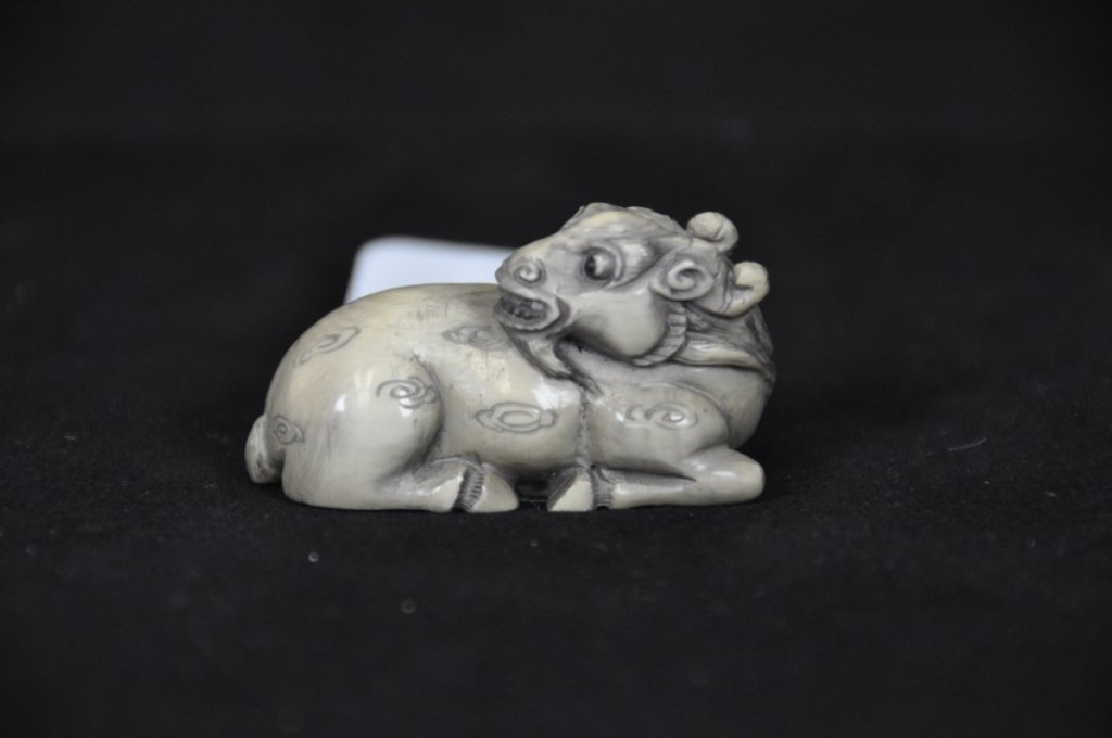 3: ANTIQUE IVORY NETSUKE : LAMB Antique carved ivory ne