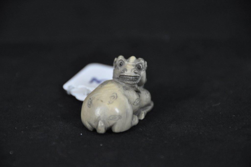 3: ANTIQUE IVORY NETSUKE : LAMB Antique carved ivory ne - 2