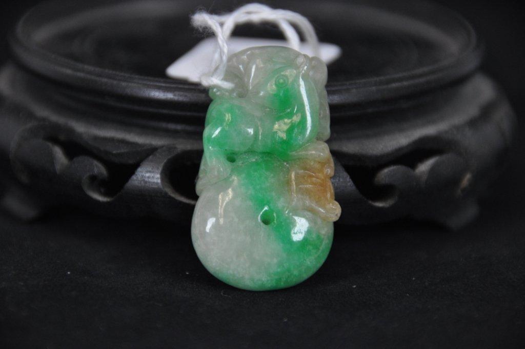 12: ANTIQUE CARVED JADEITE PENDANT Nice carved jadeite