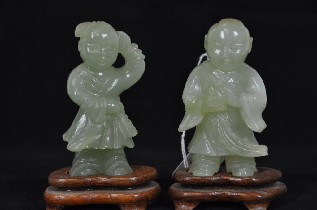 14: 18TH FIGURE OF BOY AND GIRL HETIAN JADE WITH STAND