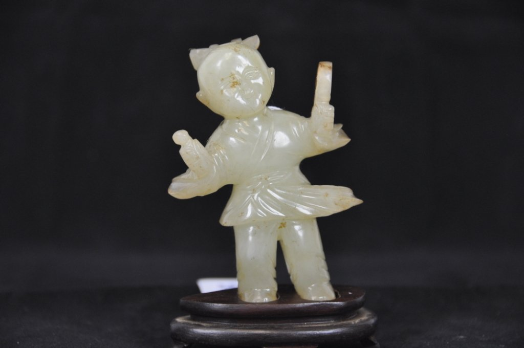 15: 18TH FIGURE OF BOY HETIAN JADE WITH STAND Tall : 3