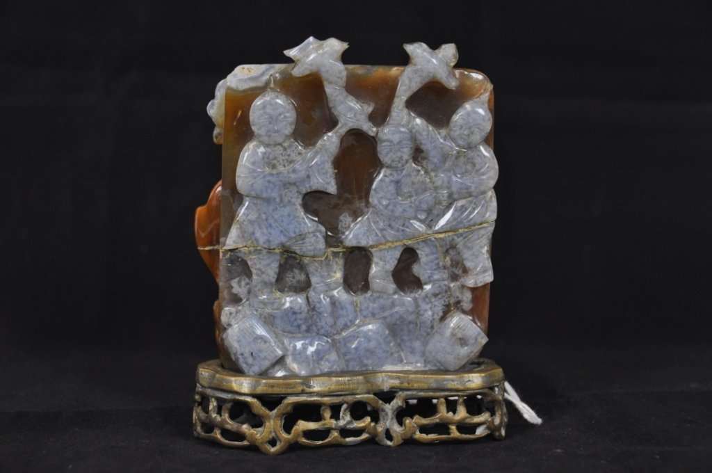 17: CHINESE CARVED AGATE PLAQUE Chinese carved agate pl