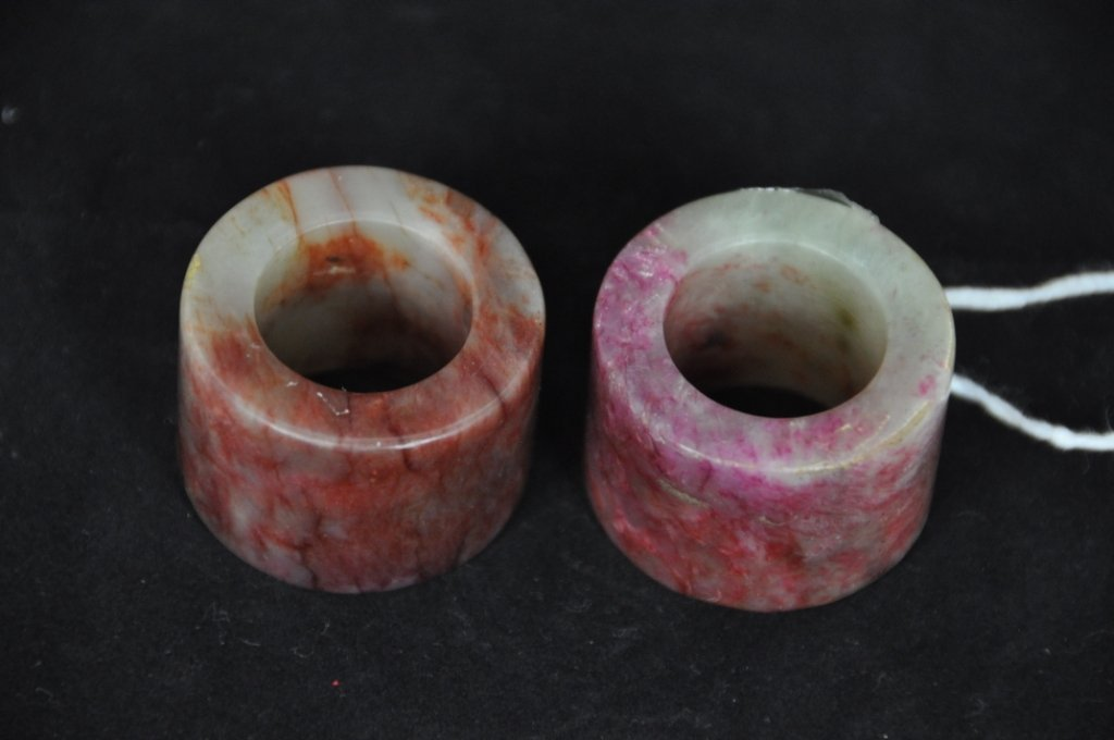 """20:  A PAIR OF CHINESE BLOODSTONE THUMB RINGS D: 1 3/8"""""""