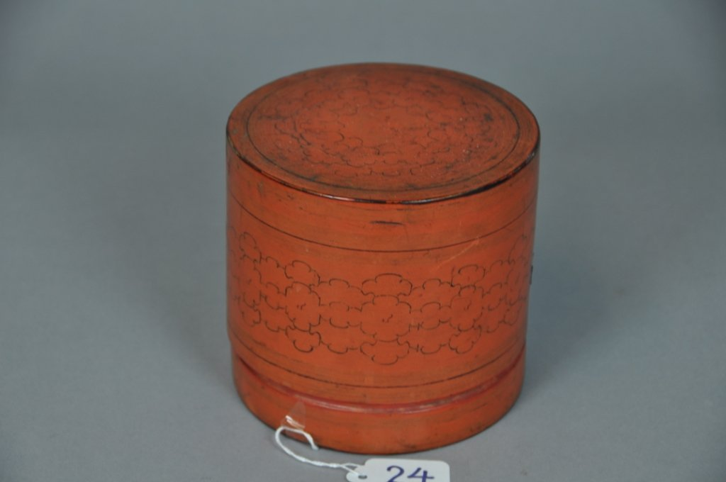 24: FOUR STACKING LACQUER COVERED BOX Tall : 5 inches (