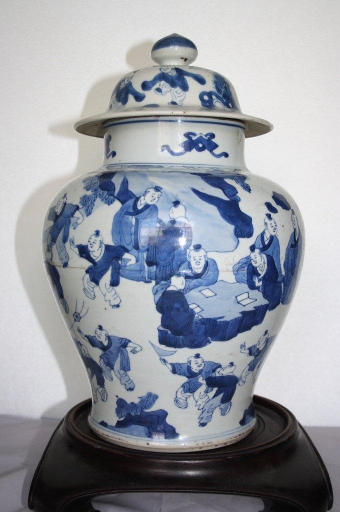239: KangXi Blue and White Porcelain Covered Vase The b