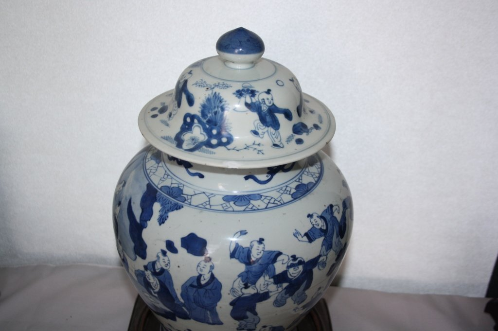 239: KangXi Blue and White Porcelain Covered Vase The b - 2