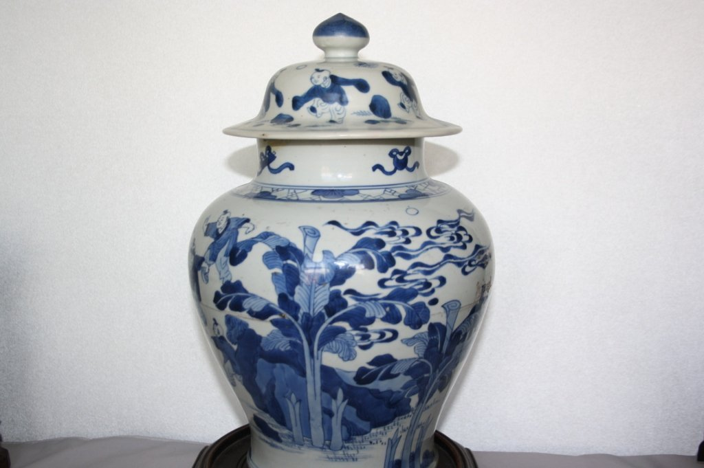 239: KangXi Blue and White Porcelain Covered Vase The b - 3