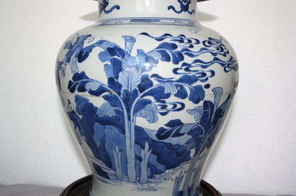 239: KangXi Blue and White Porcelain Covered Vase The b - 4