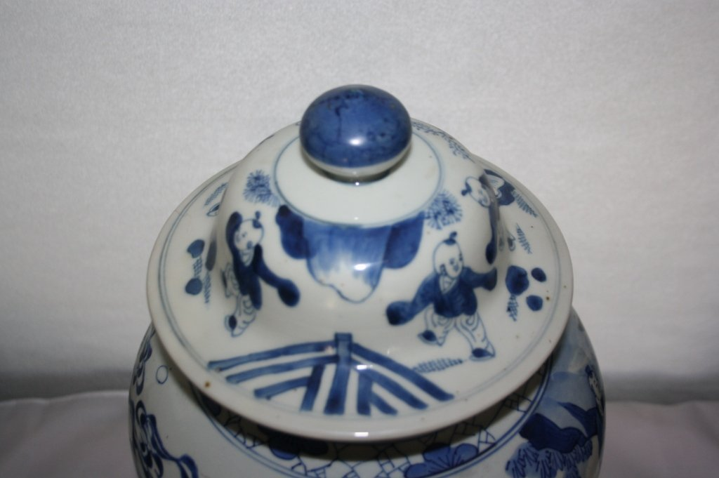 239: KangXi Blue and White Porcelain Covered Vase The b - 5