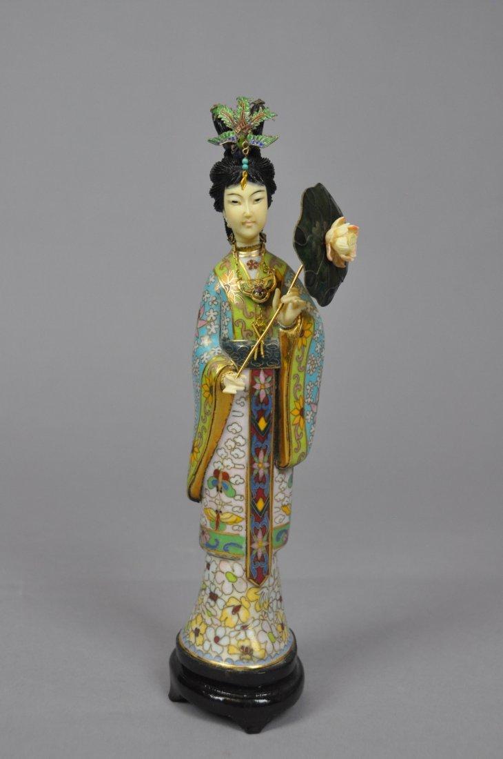 3: 20th Century Demure Cloisonne Beauty Statue She has