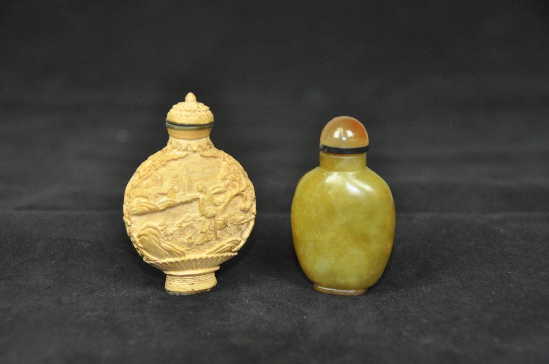 6: TWO OF GOURD AND JADE SNUFF BOTTLES The gourd one Ca