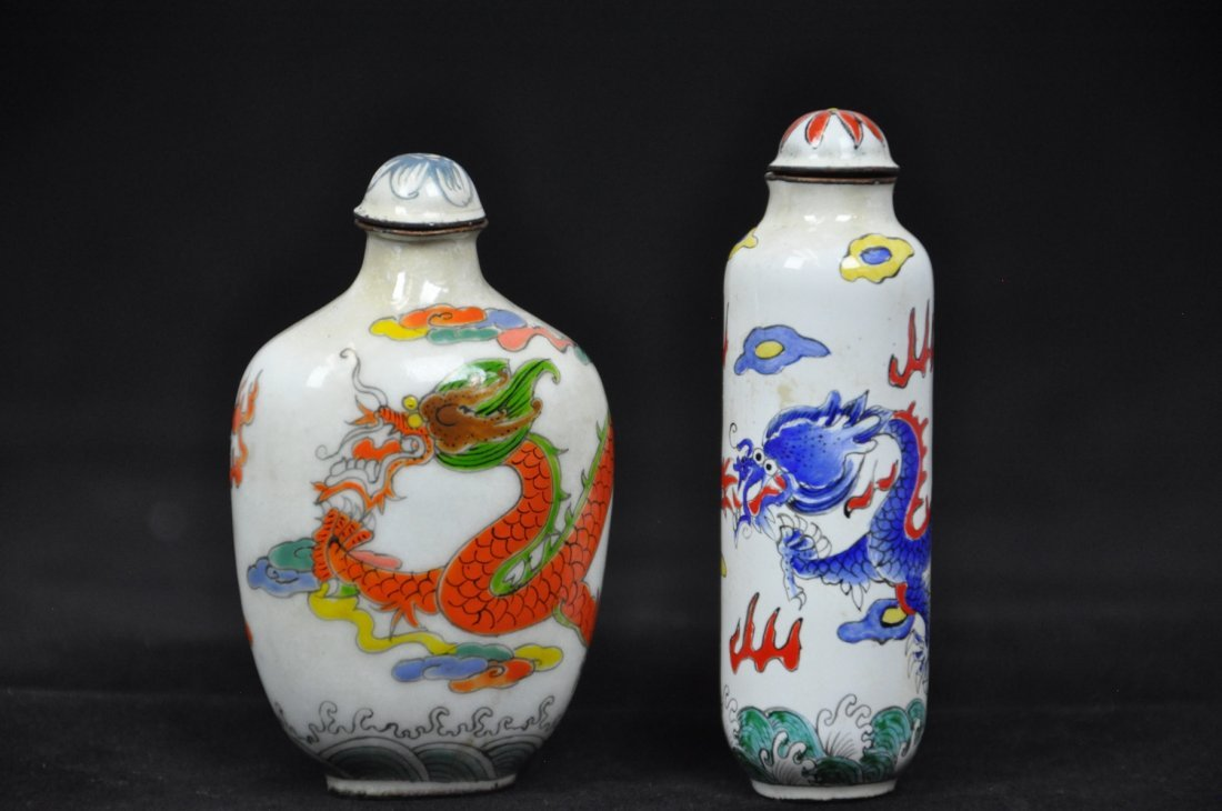 7: 19th Century Two of Enameled Dragon Snuff Bottles An