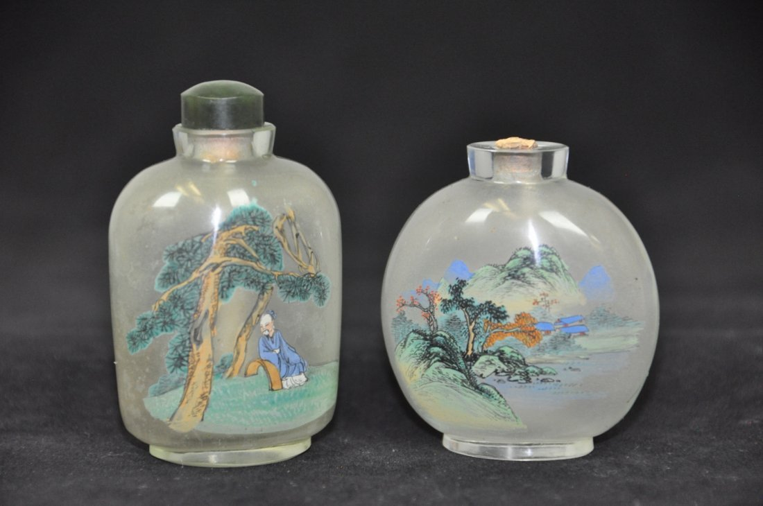 8: TWO OF INSIDE-PAINTED GLASS SNUFF BOTTLES