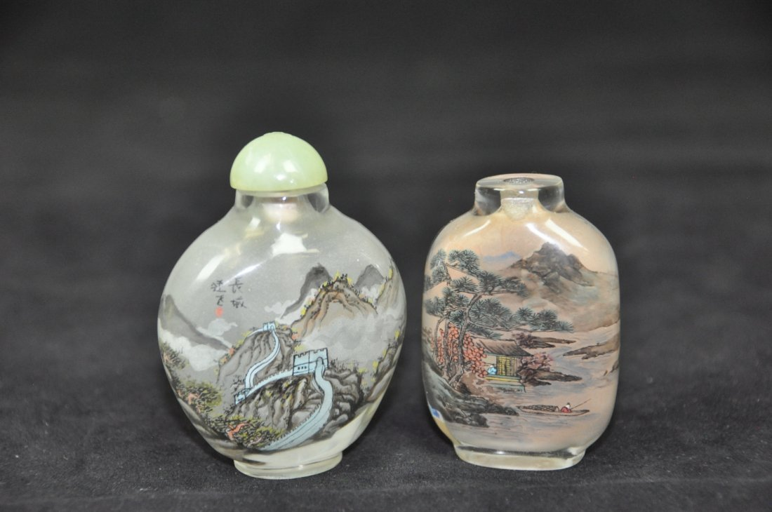 10: TWO OF INSIDE-PAINTED GLASS SNUFF BOTTLES