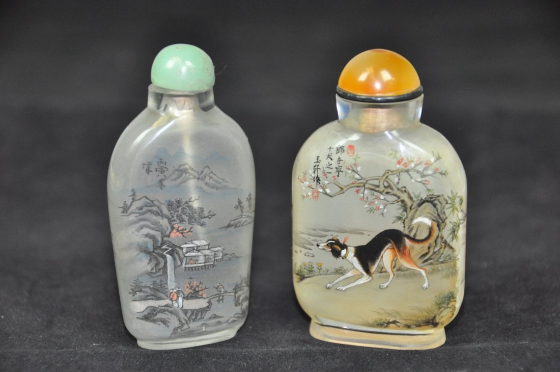 11: TWO OF INSIDE-PAINTED GLASS SNUFF BOTTLES