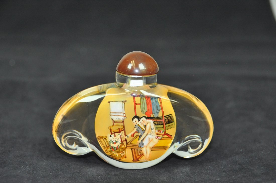 13: Inside-painted Erotic Scene Glass Snuff Bottle