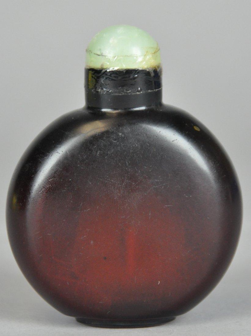 22: 19th Century Rose Carmine Glass Big Snuff Bottle A