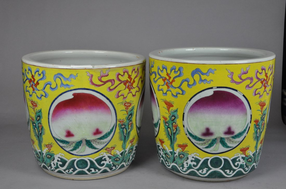 145: Pair of 19th Century Qing Yellow Huge Flowerpots