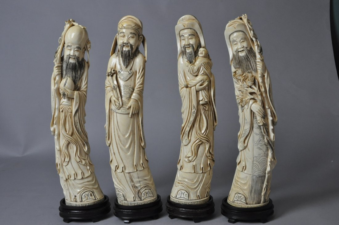 232: Set of Four 19th Century Qing Ivory Carved Immorta