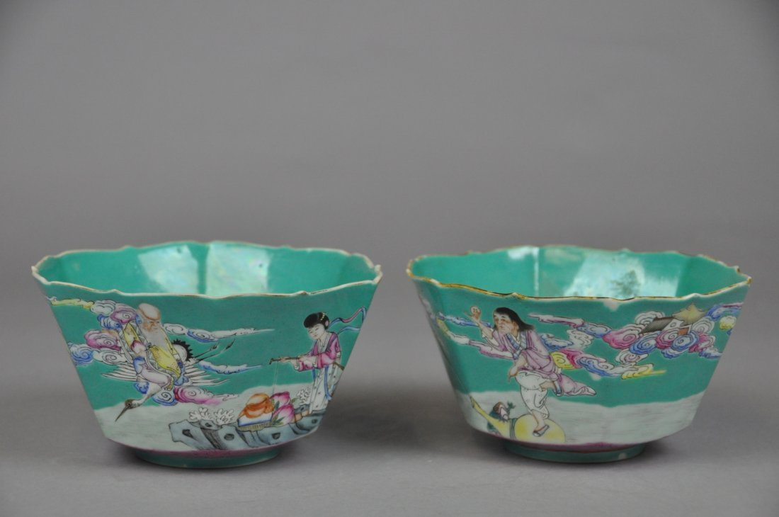 286: Pair of Late Qing SONGCI Green FamilleRose Bowls