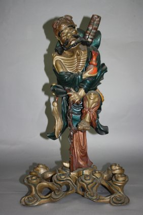 4: Nice Wood Carved One of Eight Immortals Very nice wo