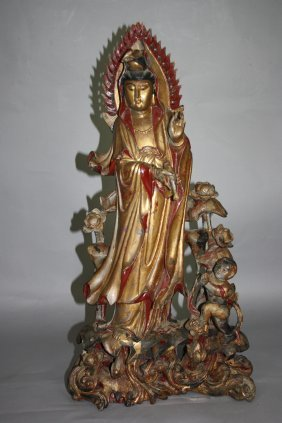 Nice Wood Carved Figure Of Guan-Yin